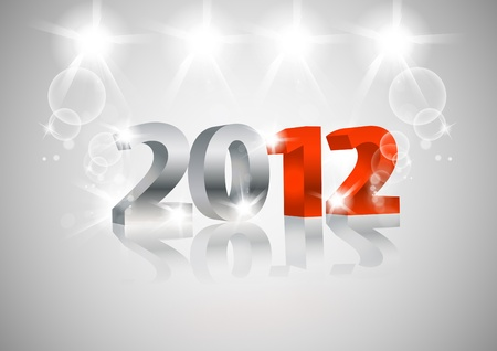 2012 Happy New Year card, 3d design Vector
