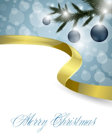 natale: Christmas card with golden ribbon