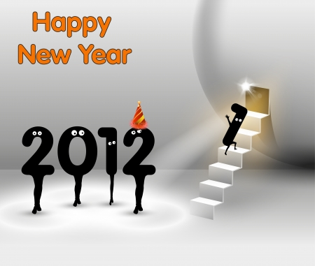 Funny New Year card , Vector Stage Spotlight design Vector