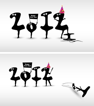 Funny New Year card design  Vector