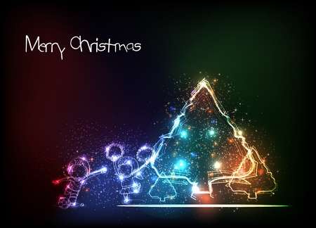 Merry Christmas Tree and children Background Vector