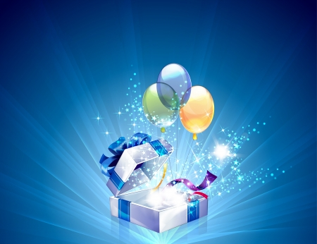 blue box: Open explore gift with stars vector background  Illustration