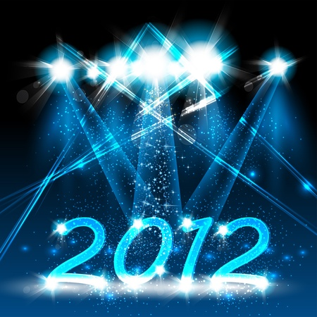Happy new year 2012, neon stage design Vector