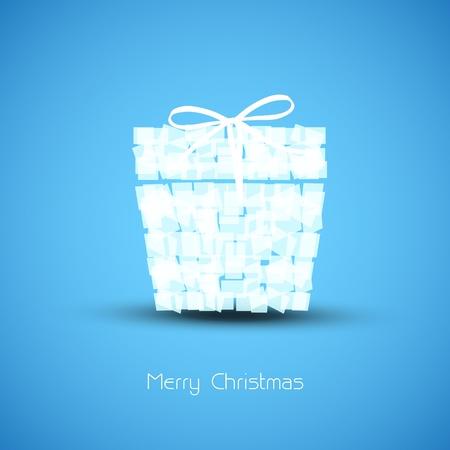 Simple blue Christmas card box  Stock Vector - 11595964
