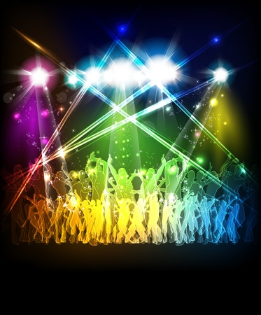 party silhouettes: Abstract party sound background with dancing people