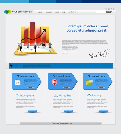 Business template web site with business people Stock Vector - 11968896