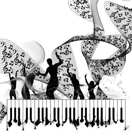 attrition: Grunge music piano background with note line Illustration