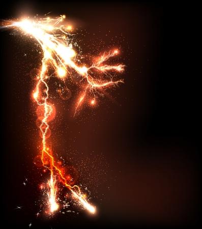 danger  high voltage: lightning flash background, easy editable
