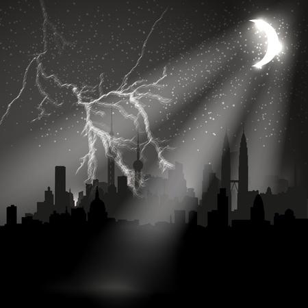 Night city with moon, easy editable Stock Vector - 12061361