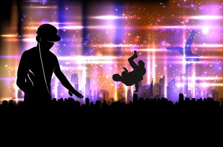 party dj: Party DJ sur son illustration de fond la ville Illustration