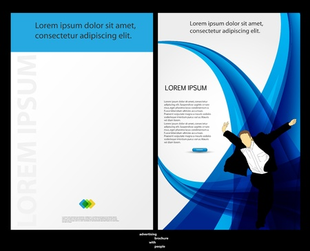 Template for advertising brochure with people  Vector