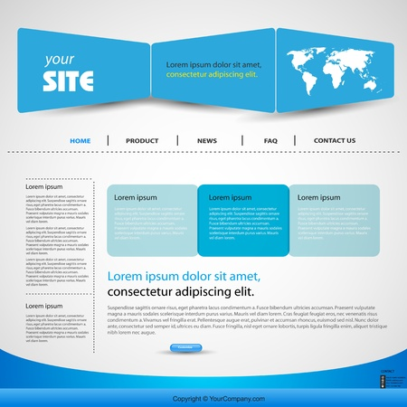 web design blue template, easy editable Illustration