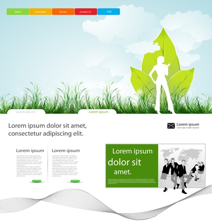 header label: Web page business layout design with people, easy desitable Illustration
