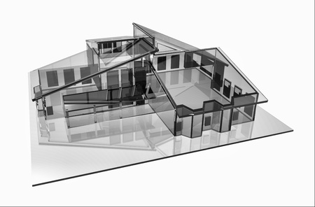 3d house glass design Computer generated image photo