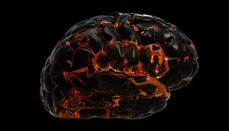 fire skull: Brain fire design Stock Photo
