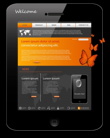 Editable website template, phone design Vector