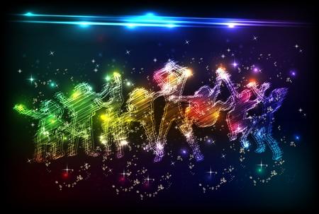 Neon party, girls dance Vector
