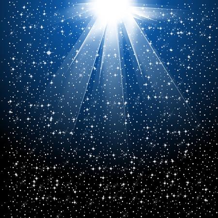 noche estrellada: La nieve y las estrellas están cayendo en el fondo