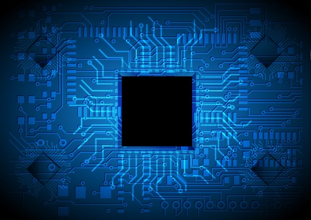 electronics industry: technology background, chip design Illustration