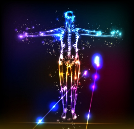human energy: abstract human body background neon design Illustration