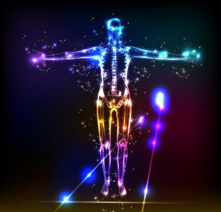 skeleton man: abstrakt menschliche Körper Hintergrund Neon Design Illustration
