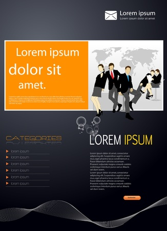 Business template with business people  Illustration