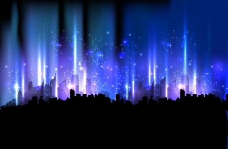 カラフルな夜の街の光のデザインの背景