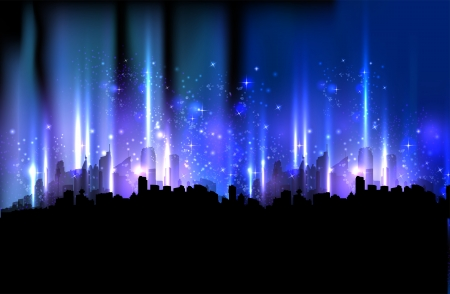 Colorful night city, light design background  Vector