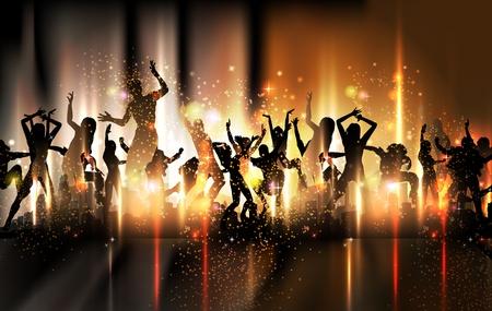 retro disco: Partido de sonido de fondo Ilustraci�n con la gente baile