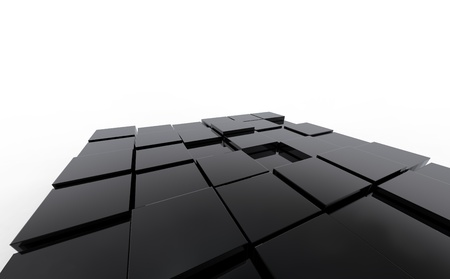 3d abstract black cubic background  photo