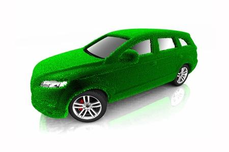 nonpolluting: Eco car concept with grass design
