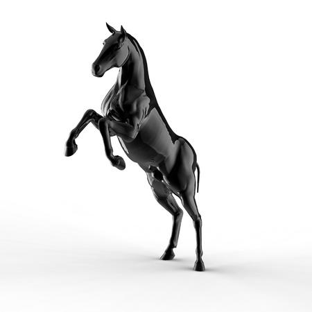 caballo negro: Ilustraci�n de un caballo negro aislado en un fondo blanco Foto de archivo