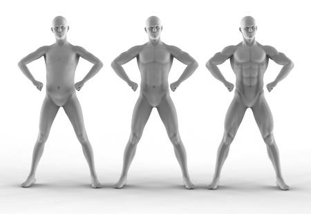 naked statue: portrait bodybuilder, different pose Stock Photo