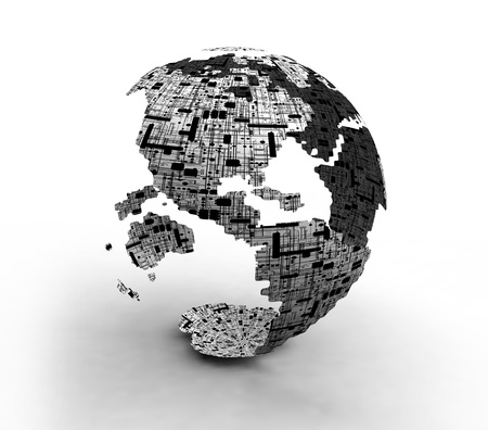 World Technology Globe Maps Stock Photo