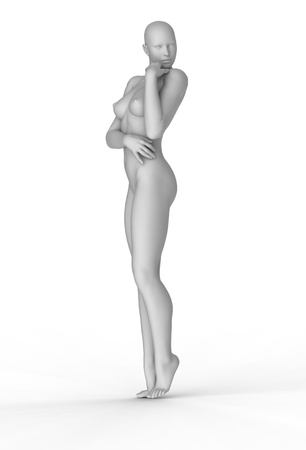 female body: 3d woman portrait  Stock Photo