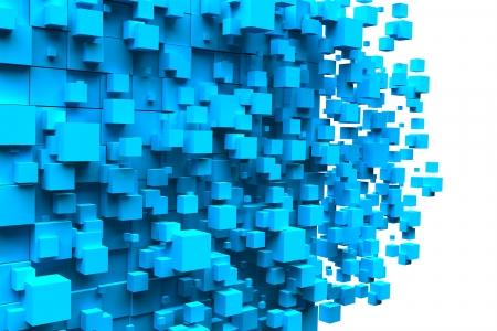 blue 3d blocks: cubes blue background