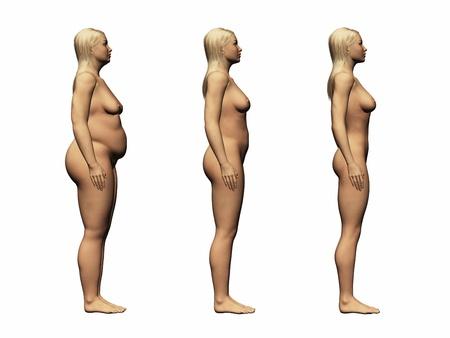 weight loss woman, 3d render photo