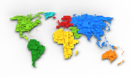 yellow earth: World map of rainbow colors, cube design