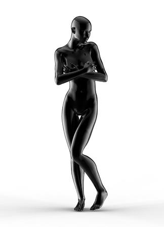 3d woman portrait, black glass  photo
