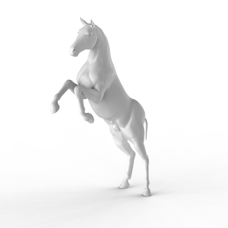 Illustration of a white horse isolated on a white background  illustration