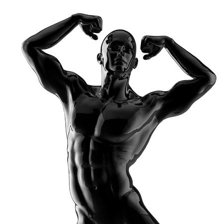 naked statue: strong bodybuilder