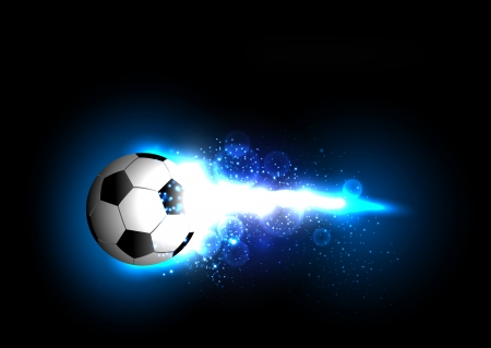 lucifers: voetbal licht banner met een voetbal Stock Illustratie