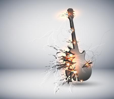 Muziek Guitar explisive achtergrond, gemakkelijk bewerkbaar Stock Illustratie