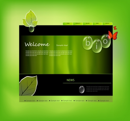 Website template with bio tags Vector