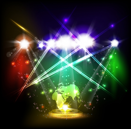 World neon light stage background Illustration