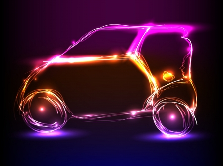 car neon light design Vector