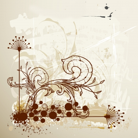 Grunge floral background  Stock Vector - 15660370