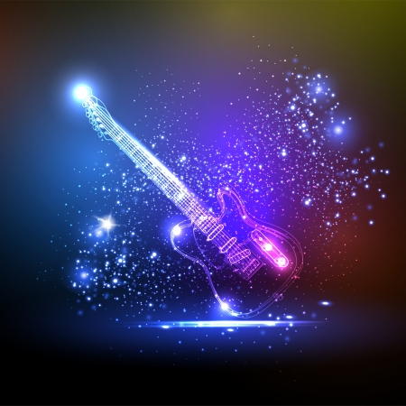 neon light guitar, grunge music Vector