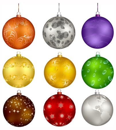 nine christmas design balls  Ilustrace