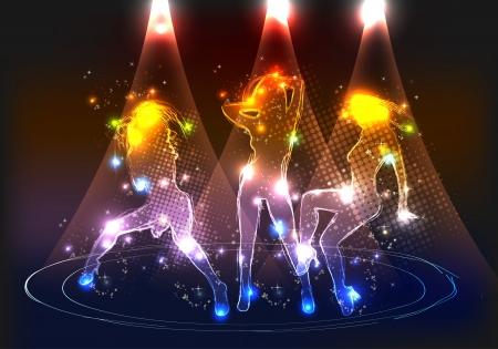 neon party: Partito neon ragazze Vettoriali